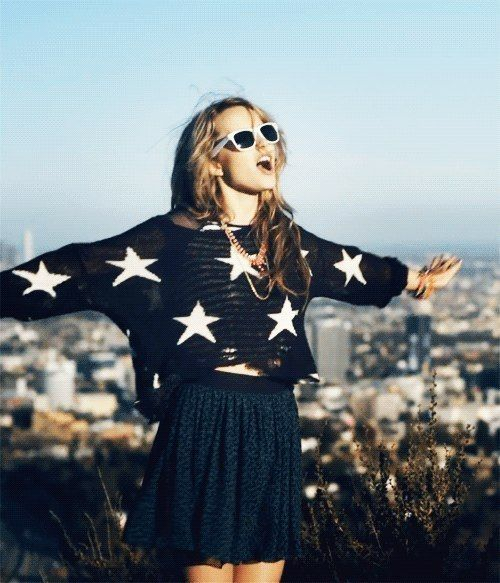 Bridget Mendler her stars on her shirt r awesome and the skirt and the glasses