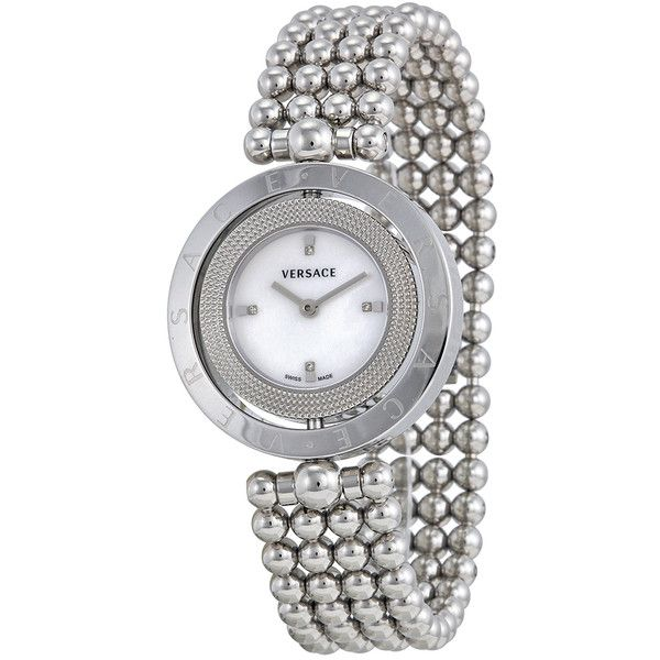 Versace Eon Mother of Pearl Diamond Dial Stainless Steel Ladies Watch ($1,110) ❤ liked on Polyvore