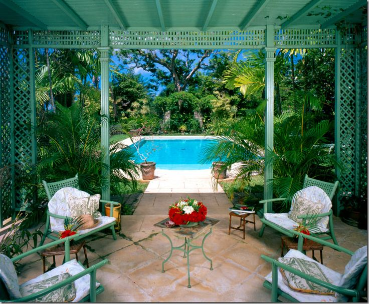 #Cocoscollections Oliver Messel, Close Match To Ben Moore Southfield Green.  Pool And PatioTropical ...