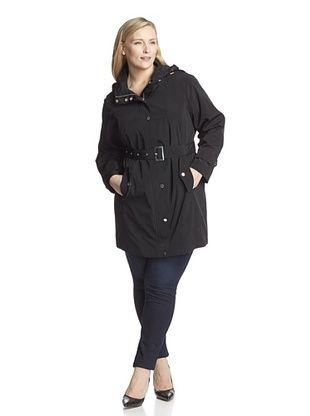 70% OFF London Fog Women's Plus Single Breasted Rain Coat (Black)