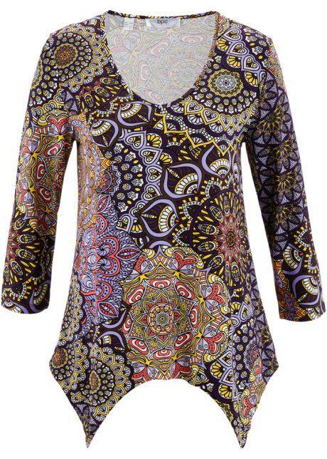 Bonprix Shirt, bpc bonprix collection, middenbruin/wit gedessineerd tshirt top brown white pink and purple bohemian print