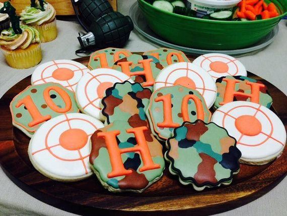 Camo Nerf Birthday Cookies