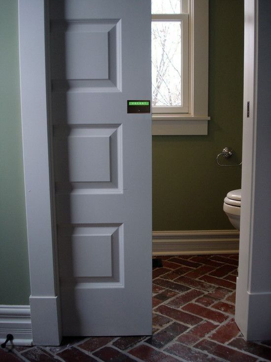 """Pocket Door & Barn Door Privacy Indicator Deadbolt Lock Round recessed thumb-turn & rectangular Occupancy Indicator Bed & Bath pocket door deadbolt privacy lock features 3"""" wide easy to read OCCUPIED & VACANT signage.  Also available with RED & GREEN or your own custom messages or company logo.  The P-100 fits pocket doors and barn doors from 1 1/3"""" to 4"""" thick.  Ideal for bathroom en-suites, barn doors, French doors, sliding barn doors and pocket doors, the Model P-100 is also perfect for…"""