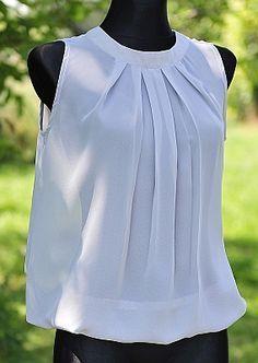 white sleeveless blouse | downloadable free pattern