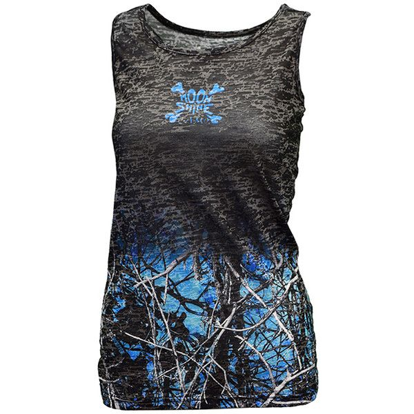 Moon Shine Camo Blue & Black Undertow Fade Tank ($15) ❤ liked on Polyvore featuring tops, form fitting tops, camoflauge tank top, camo print top, camouflage tank and wet look top