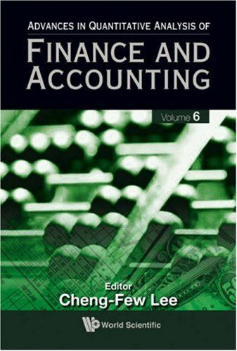 I'm selling Advances in Quantitative Analysis of Finance and Accounting, Vol 6 by Cheng-Few Leeby - $35.00 #onselz