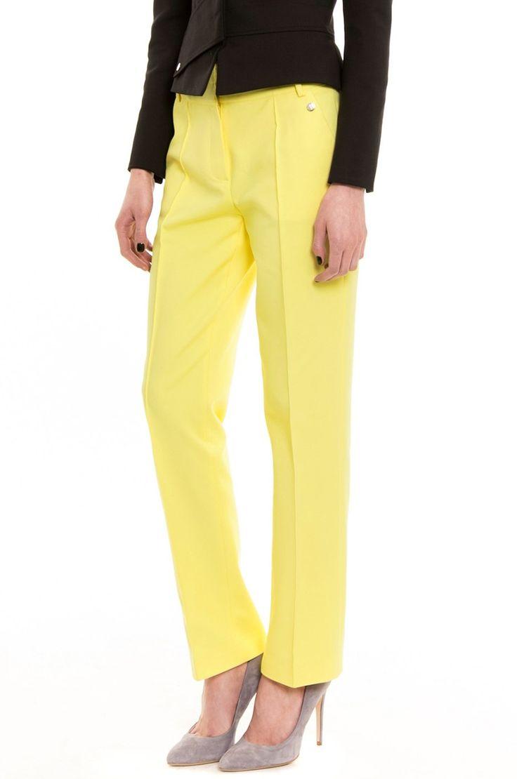 Simple - Spodnie materiałowe damskie żółte