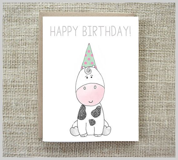 Cute Birthday Card - Happy Birthday Card - Baby Cow - Illustrated Card…
