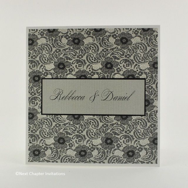 SICILIA  This beautiful wedding invitation captures the timeless elegance of lace with Valencia Black Lace designer paper to recreate the vintage charm of Italian lace. Includes a matching metallic Ice Gold envelope. Price: $5.95 https://www.facebook.com/NextChapterWeddingInvitations