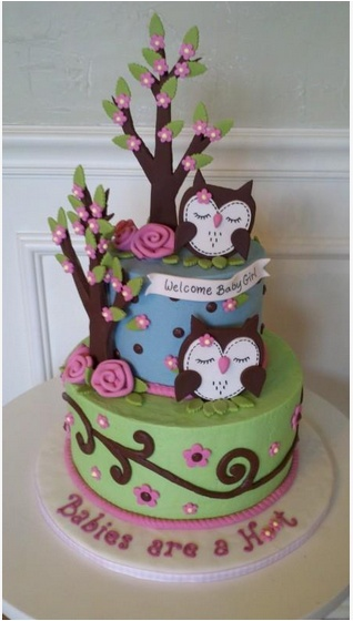 owl cakes for baby shower