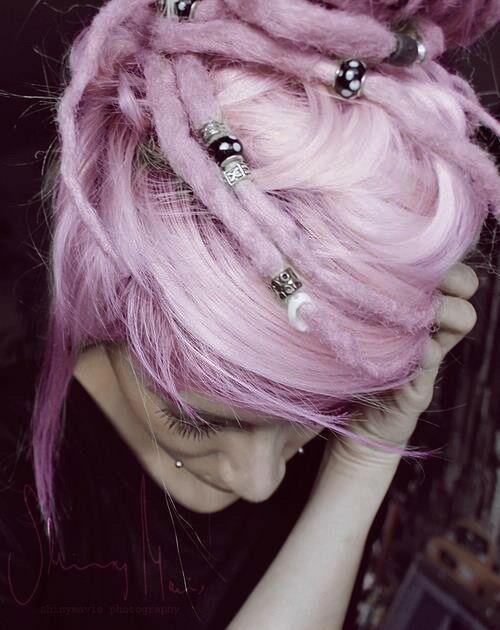 pastel pink dreadlocks