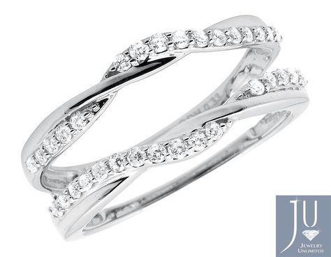 14k White Gold Diamond Guard Engagement Wedding Jacket Ring Wrap Enhancer .33ct #JewelryUnlimited