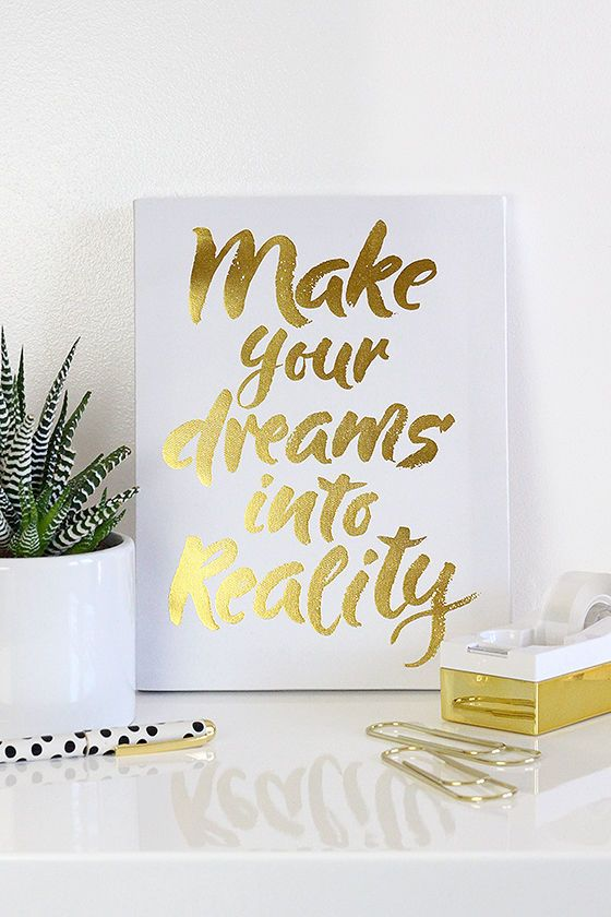 Make Your Dreams Reality White and Gold Wall Canvas at Lulus.com!