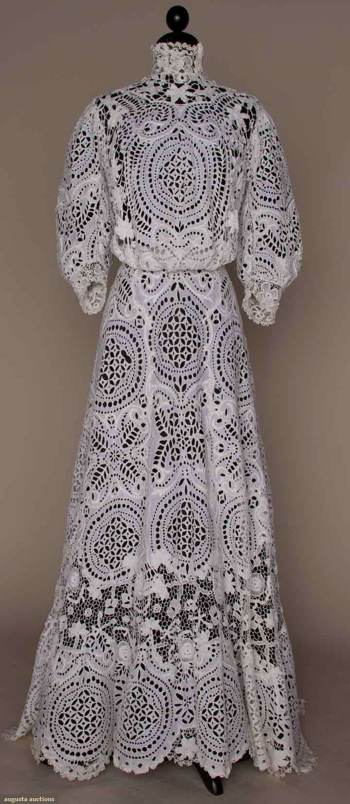 Worked all~over in eyelet & embroidery w/inserts of Irish crochet ~ Pigeon front ~ Trained skirt ~ Balloon  sleeves ~ Augusta Auctions
