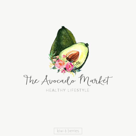 Watercolor logo design - Avocado Premade logo -fruit watercolor logo - Natural logo design - Branding for shops - Business logo