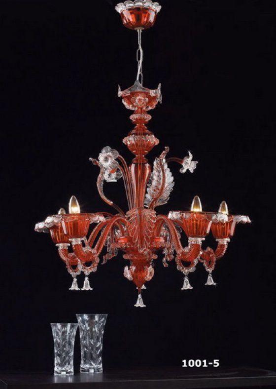 Muranoi csillár, vörös-kristály 5 ágú