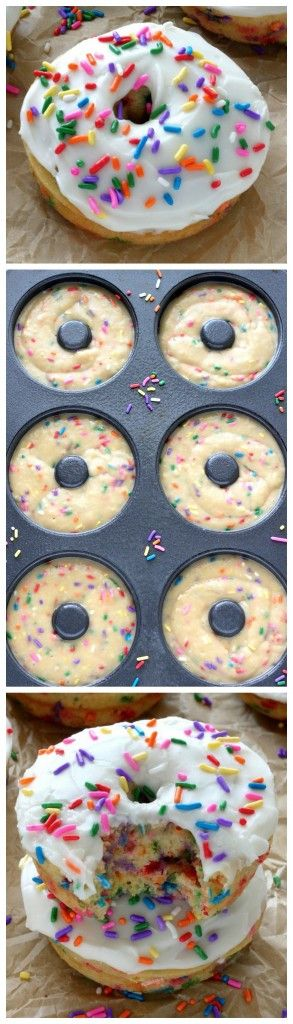 Vanilla Frosted Funfetti Donuts (Baked, Ready in less than 30 minutes and Super Easy)