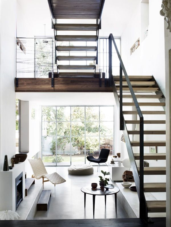 .Lights, Stairs, Open Spaces, Interiors Design, Living Room, Loft, Black White, House, Modern Home