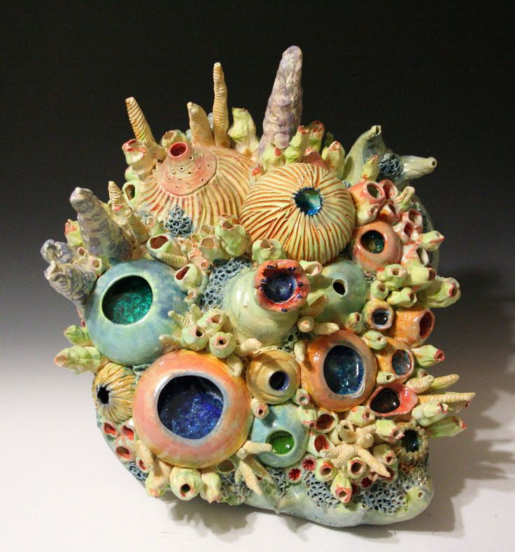 Coral Reef Sea Ocean inspired Ceramic Wall Art Hanging. by Diane Lublinski.  Reminds me of the Undersea Bowl the kids made in Clay class last year.