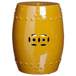 Handmade Sunshine Yellow Porcelain Garden Stool (China)