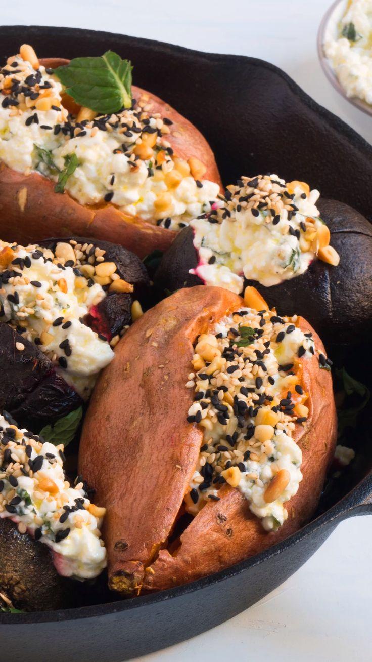 Gebackene Süßkartoffeln und Rote-Bete-Wurzeln   – Gesunde Rezept-Videos