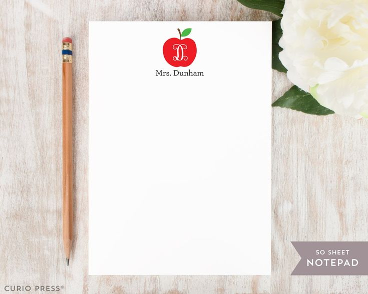 Apple Notepad Personalized stationery, Back to school