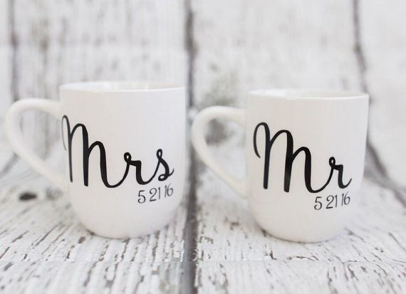 Mr & Mrs Mugs // Bride and Groom Mugs // by SweetHartMonograms