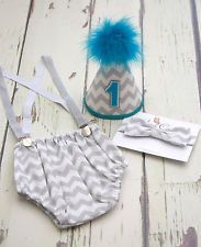 Baby Boys First Birthday Cake Smash Party outfit in grey chevron