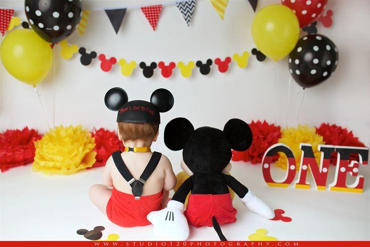 Disney Themed Cake Smash Mickey Mouse Cake Smash One Year Session Studio 120 Photography