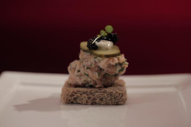 Luke and Scott's Salmon Rillette on Rye Crisps with Horseradish Cream from S4 of MKR: http://gustotv.com/recipes/appetizer/salmon-rillette-rye-crisps-horseradish-cream/