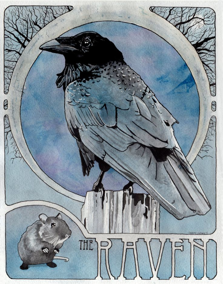 The Raven 11 x 14 archival Art Nouveau print by corbettsparks
