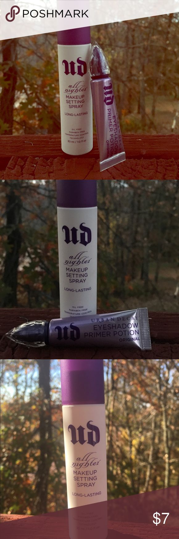 Urban Decay Travel Duo Urban Decay All Nighter Makeup Setting Spray in 30 ml/1.0 fl oz & Urban Decay Eyeshadow Primer Potion in 5 ml/0.16 fl oz. I bought at Sephora in August 2016 for a wedding and only used once. Urban Decay Makeup Face Primer