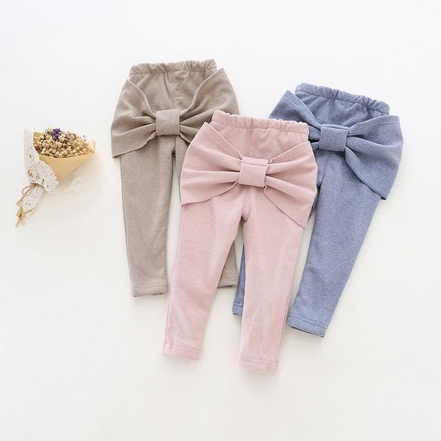 9eea178abf68a New Kids Pants Girls Warm Casual Pants With Big Bow Baby Girl Winter ...