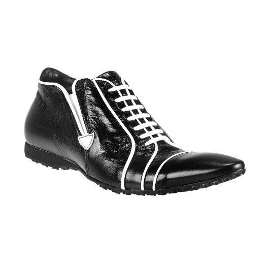 Pánske kožené športové topánky čierne - fashionday.eu