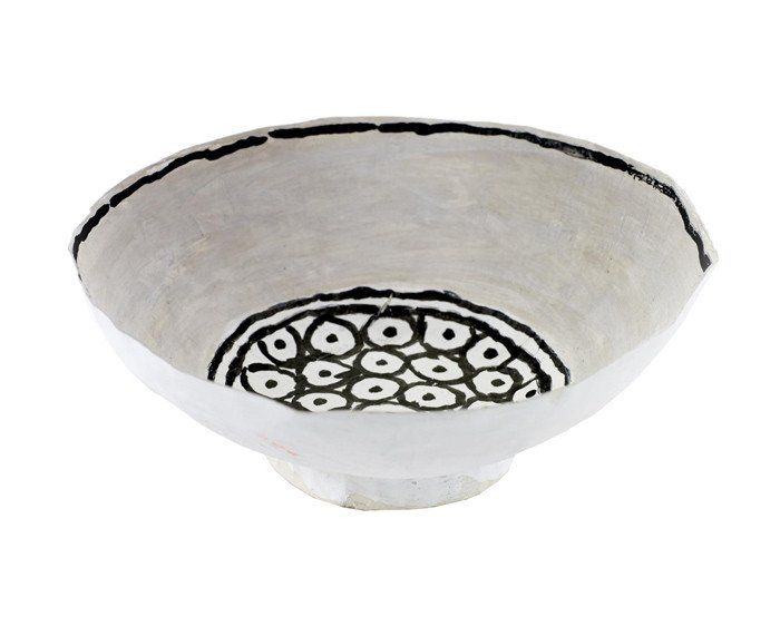 The hand-made Isa Circles paper bowl was designed by Isabelle de Borchgrave, a Belgian artist well-known for her paper works of art. Her hand-painted collection