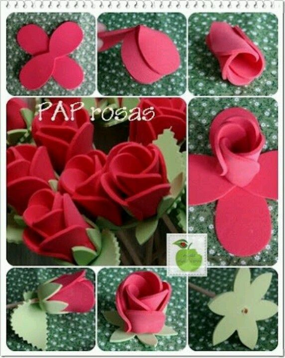 roses in fomi but you can use felt as well