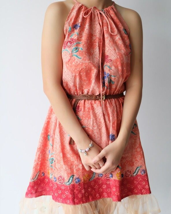 Dress in orange.. doby semi cap only idr 250k for more info please look out at our ig; batikdywa