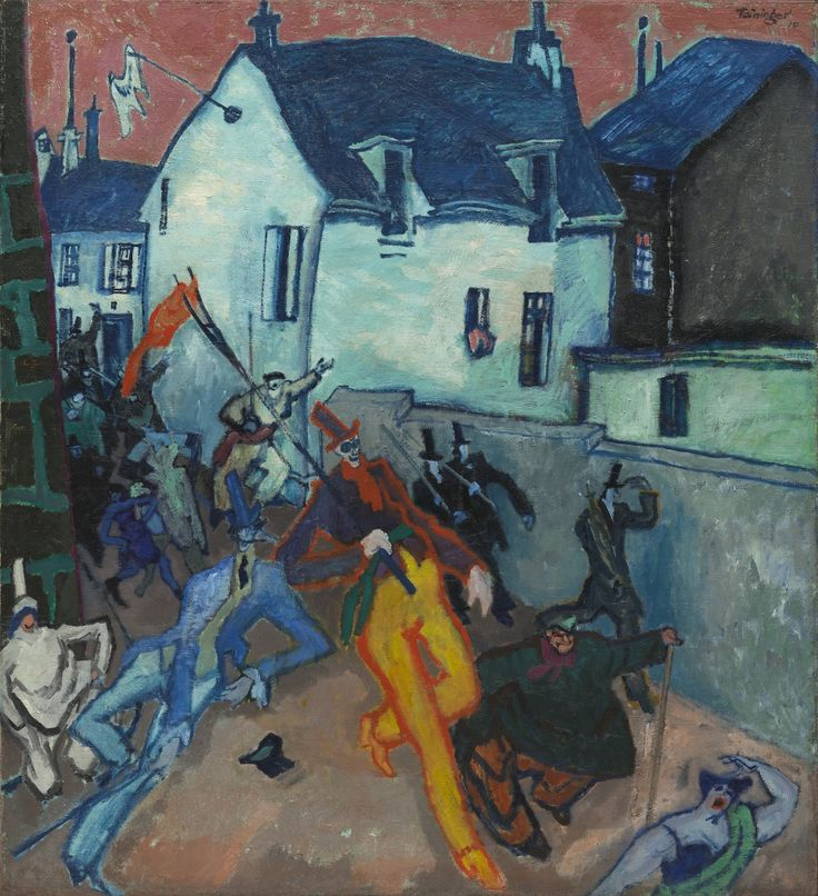 NOT ON VIEW Lyonel Feininger painting presents insurrectionaries pouring onto the streets of a small French village. A dandy jauntily sidesteps his way into the picture, elbowing a brilliantly colored and grotesquely elongated man who bears a pitchfork topped with a red flag. Faceless men in top hats march along a blank...