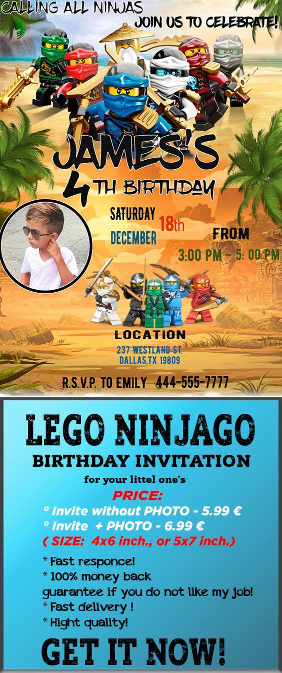 Ninjago Invitation Lego Birthday Invitations