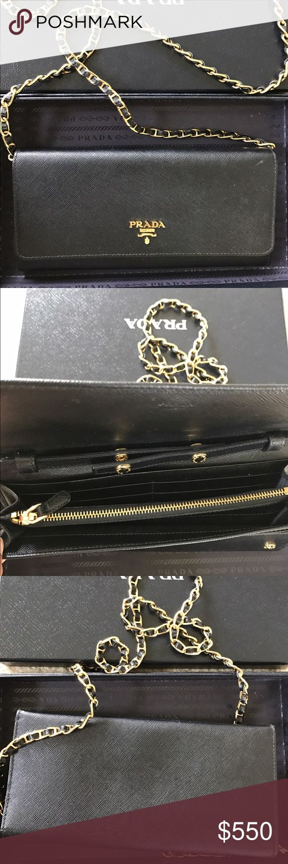 Authentic Prada clutch Bought from Neiman Marcus about 3 years ago. It was only used twice for special occasion. Prada Bags Clutches & Wristlets