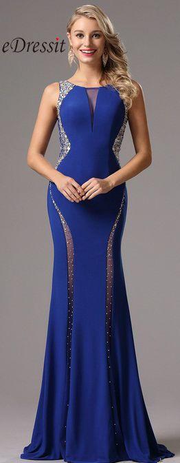 eDressit Plunging V Back Beaded Blue Prom Dress.