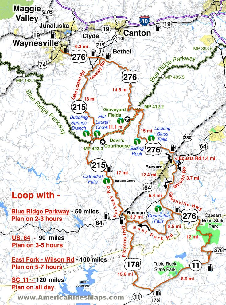 Great Motorcycle Rides in North Carolina - Pisgah Triangles motorcycle map