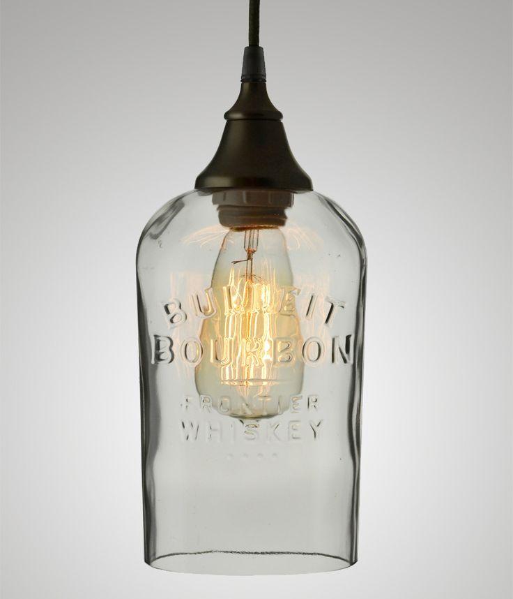 Bottle Pendant, Bulleit Bourbon #bottle #modern #recycled #repurposed