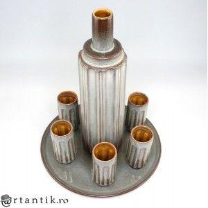 set modernist pentru servire Sake - ceramica glazurata Raku - Japonia