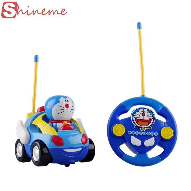 Nuevo bebé muchacha de los muchachos Doraemon Eléctrico de Control Remoto juguetes de coches para niños RC Coche de Alta velocidad Lindo gato de Dibujos Animados musical Coche ligero niño juguete
