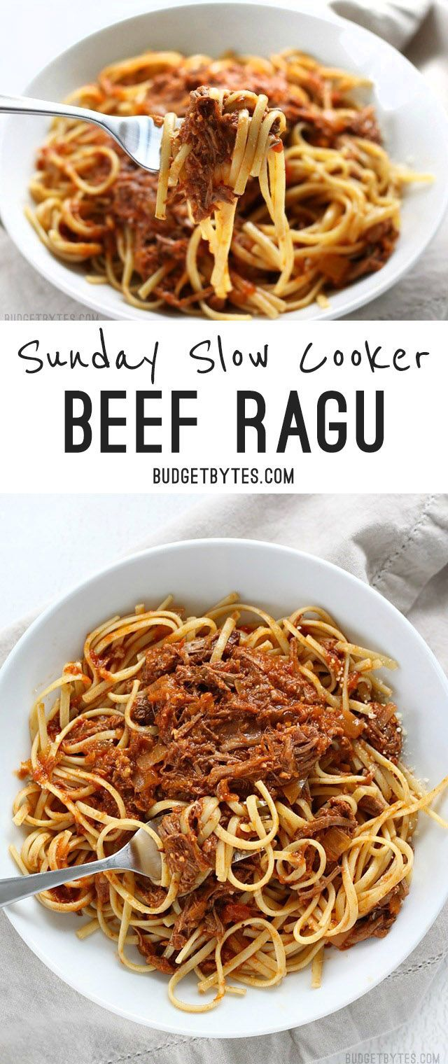 Sunday Slow Cooker Beef Ragù is freezer ready and features shredded beef in a deep savory tomato sauce. @budgetbytes