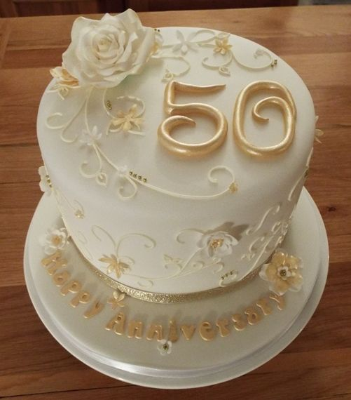 50th Golden Wedding Anniversary Cake With Sugar Flowers