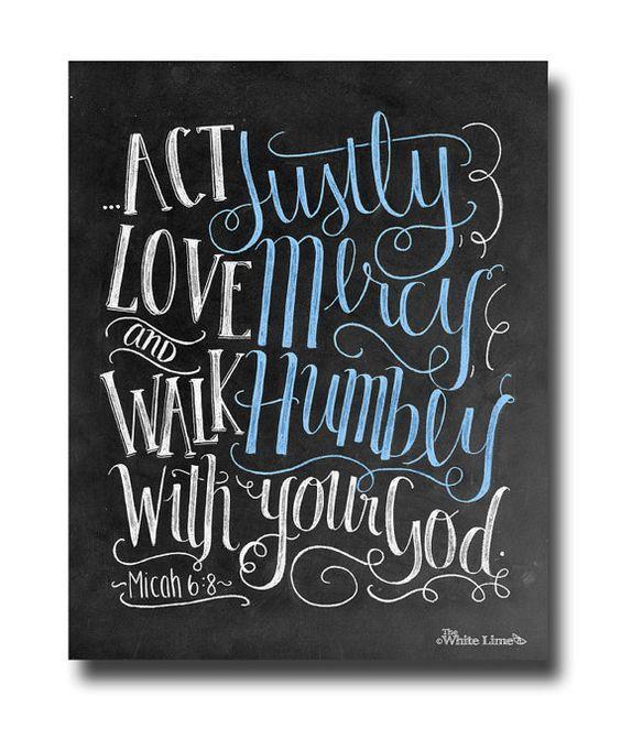 Scripture Art Bible Verse Art Micah 6 8 Scripture Print Bible Verse Sign Chalkboard Art Chalk Art Print Act Justly Love Mercy Walk Humbly on Etsy, $17.00