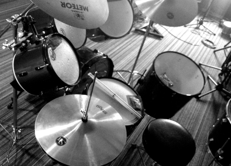 Drum kit, probably not vintage, but everything looks vintage in black & white...