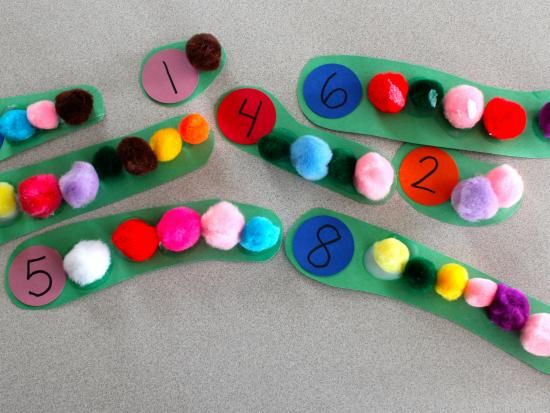 Counting Caterpillars: Practice counting while you make these fun pom pom caterpillars.